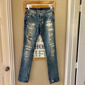 Ralph Lauren Dungarees 41381 Distressed Jeans